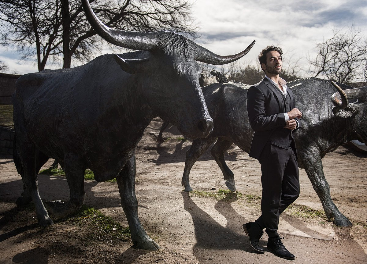 Business CEO portrait in Pioneer Park Dallas TX with bulls