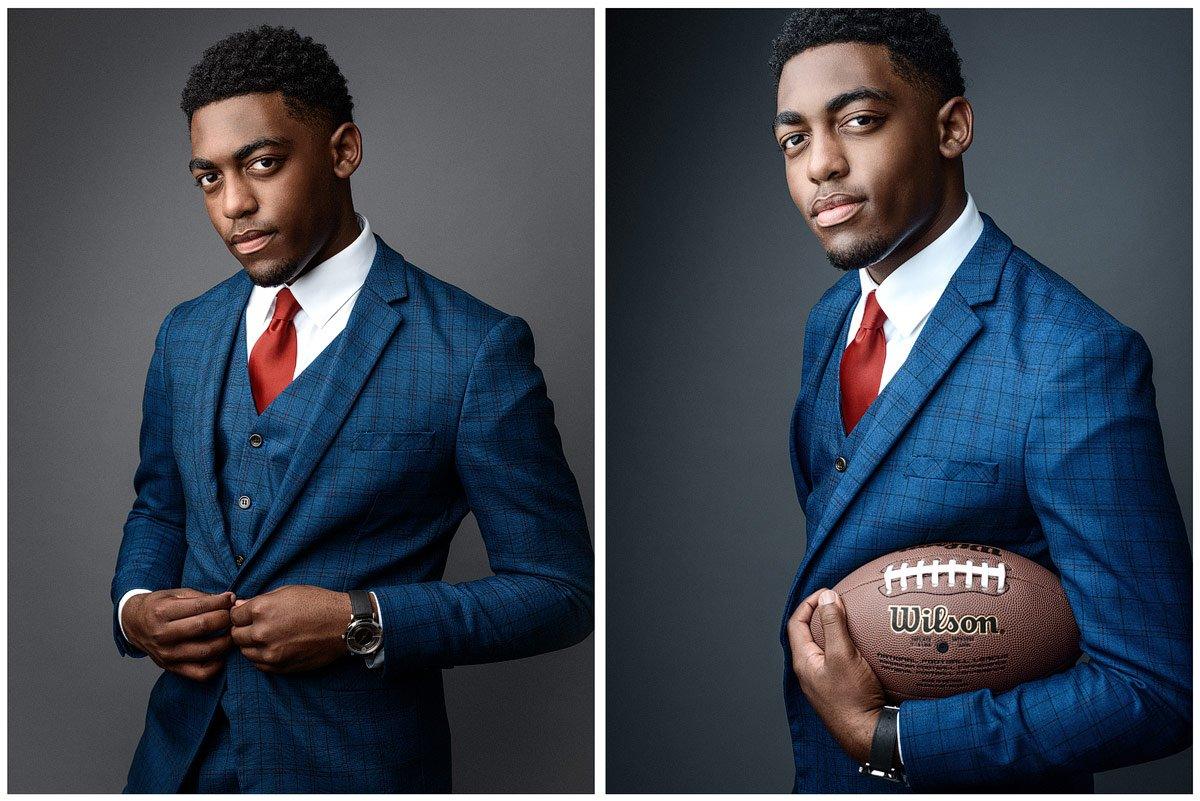 dallas senior pictures with a fashion flair in suit in mckinney studio