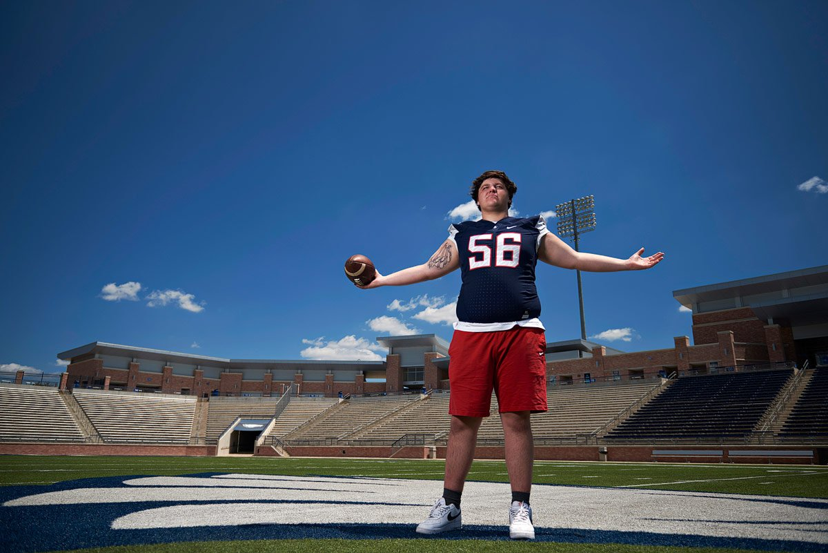 Allen eagles #56 center for senior portraits in football jersey