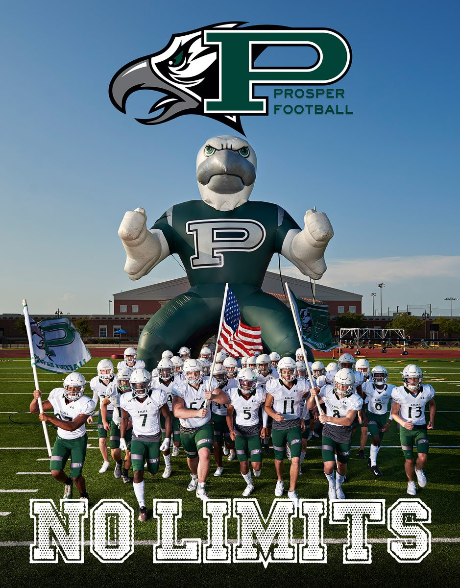 Prosper Eagles Senior Football program cover for 2018 photos by Jeff Dietz