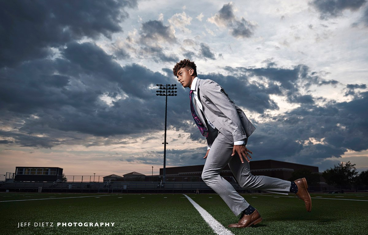 prosper wide receiver jumps off the line for fashion sports photos with photographer jeff dietz
