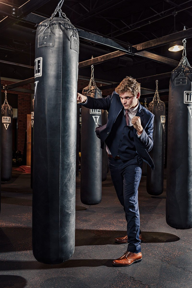 plano senior photos in boxing gym by mckinney portrait photographer Jeff dietz