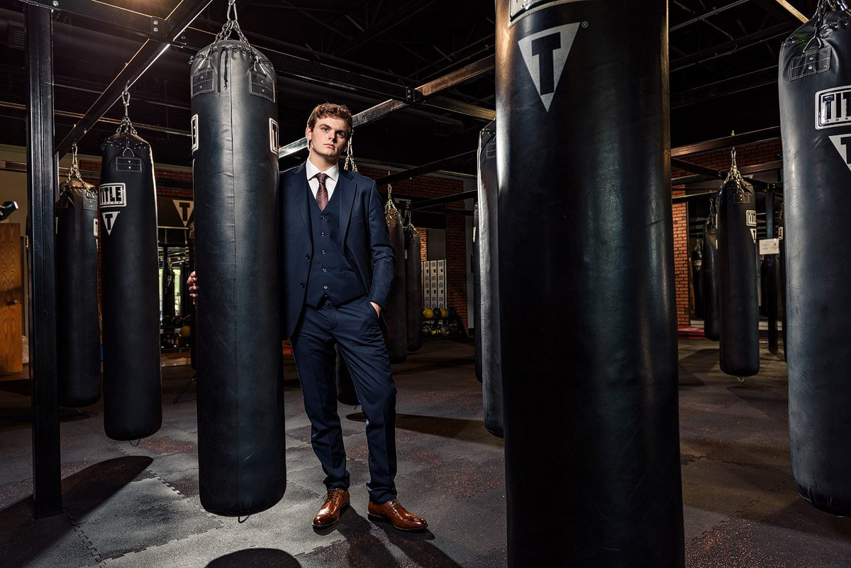 dallas editorial sports photographer photographs plano senior in boxing gym