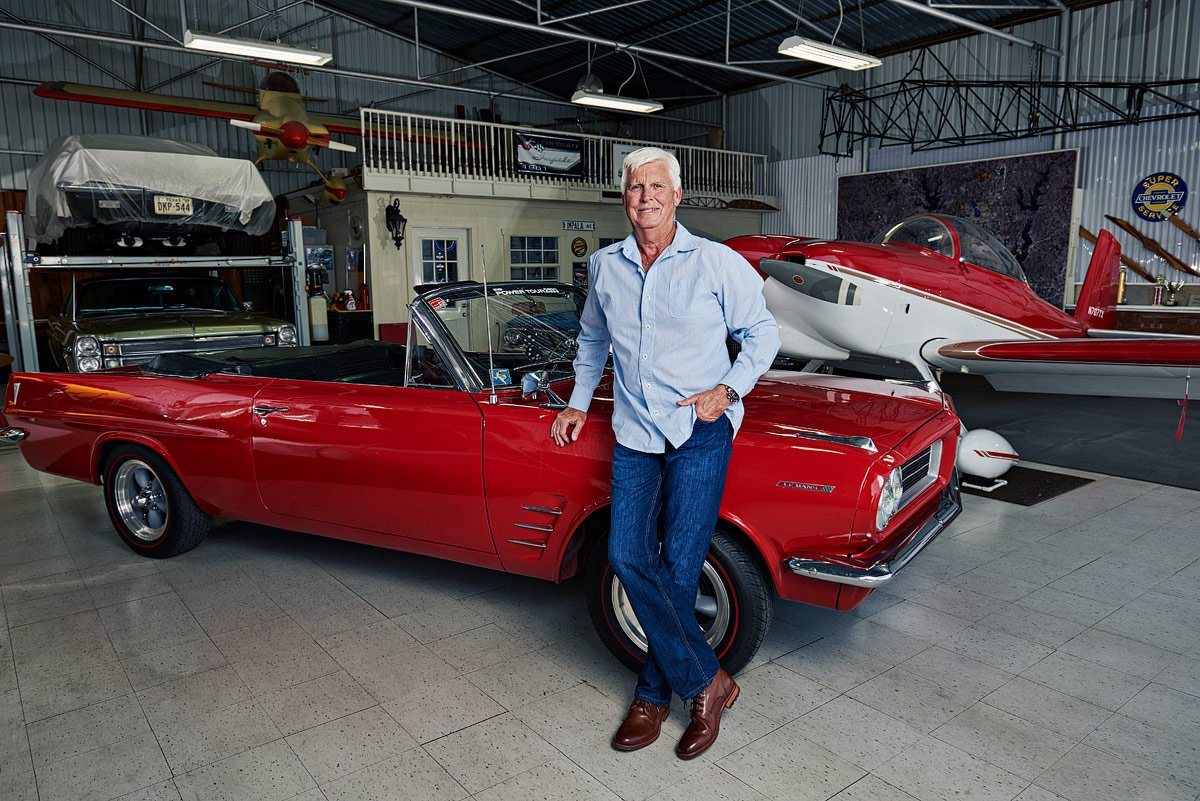portrait by red Pontiac lemans by mckinney car photographer