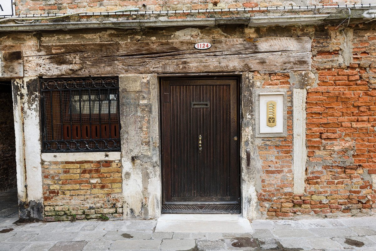 old door and brick in venice italy