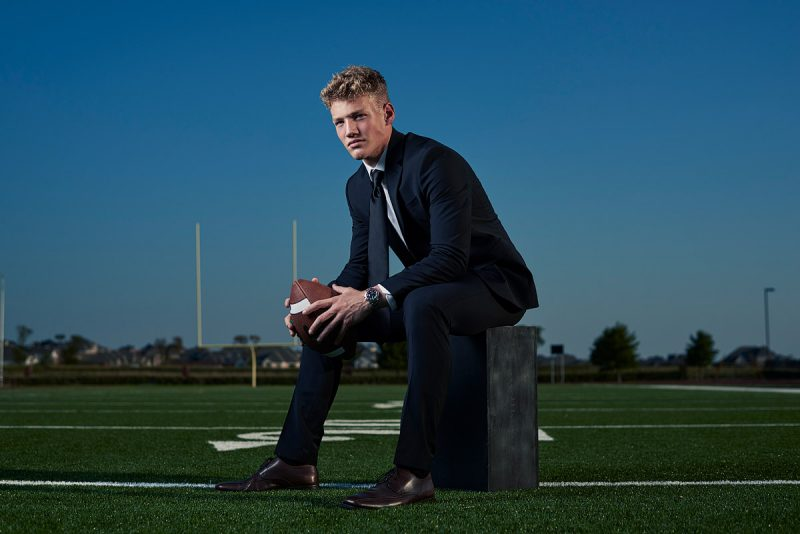 Prosper Senior Pictures 2019 football player feature photo