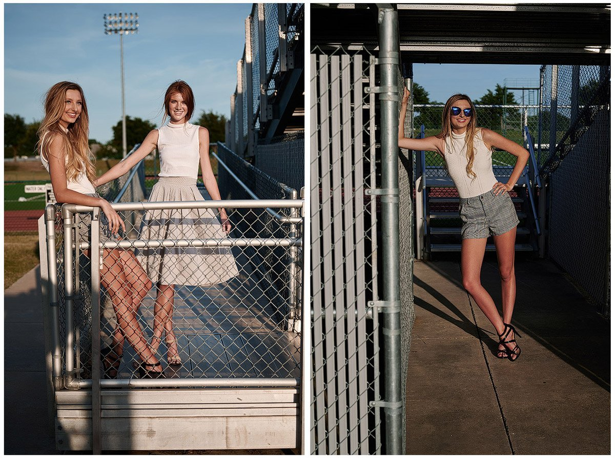 cheerleading friends pose for senior pictures at allen high school