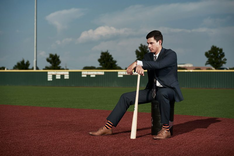 Dallas Senior Pictures Photographers McKinney Baseball player in suit