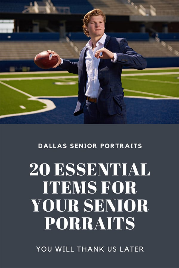 20 essential items for dallas senior portraits banner